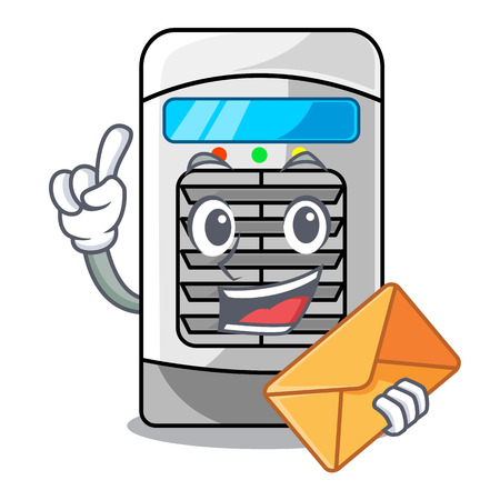 With envelope air cooler at the character table vector illustration Vector Illustration