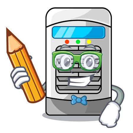 Student air cooler at the character table vector illustration 向量圖像