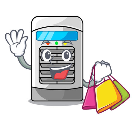 Shopping air cooler at the character table vector illustration
