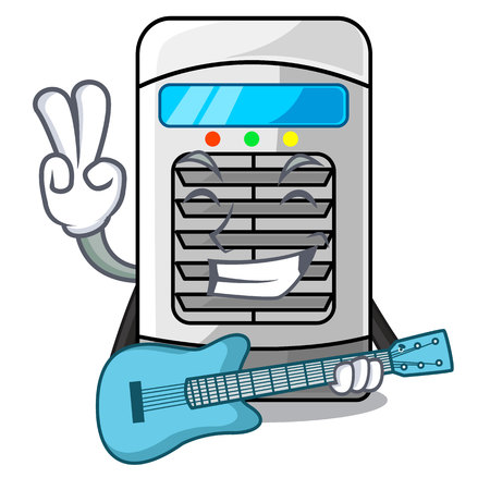 With guitar air cooler isolated with the cartoon vector illustation