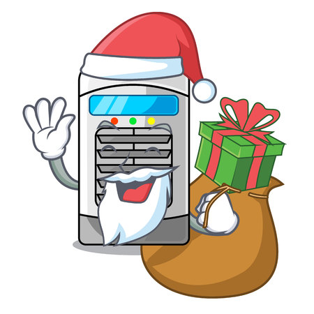 Santa with gift air cooler in the cartoon shape vector illustration