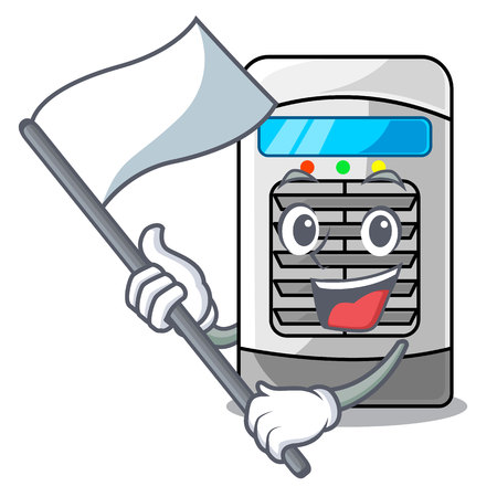 With flag air cooler in the cartoon shape vector illustration