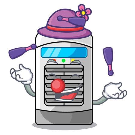 Juggling air cooler in the cartoon shape vector illustration