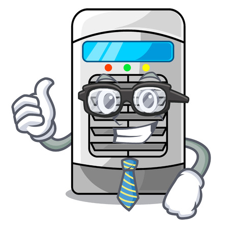 Businessman air cooler at the character table vector illustration