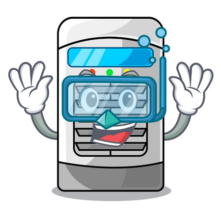 Diving air cooler at the character table vector illustration
