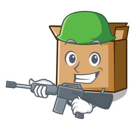 Army cardboard is placed above cartoon table vector illustration