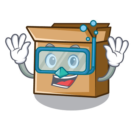 Diving cardboard in the a character shape vector illusration Çizim