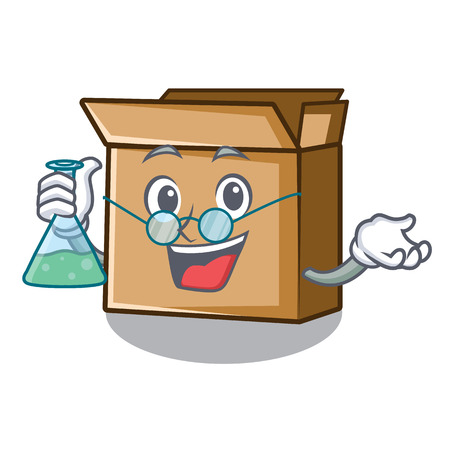 Professor cardboard in the a character shape vector illusration