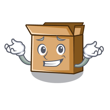 Grinning cardboard in the a character shape vector illusration