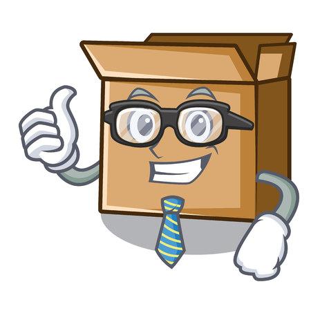 Businessman cardboard in the a character shape vector illusration Stock Illustratie