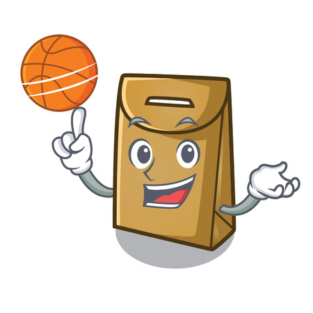 With basketball cartoon paper bag at table register Stock Illustratie
