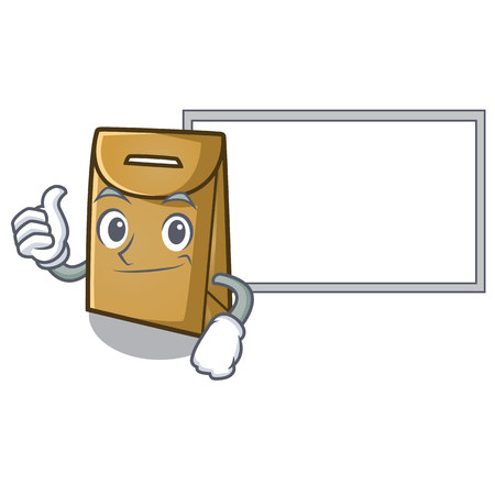 Thumbs up with board cartoon paper bag at table register vector illustration