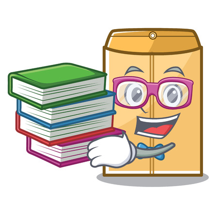 Student with book mailer envelope isolated in the cartoon vector illustration  イラスト・ベクター素材