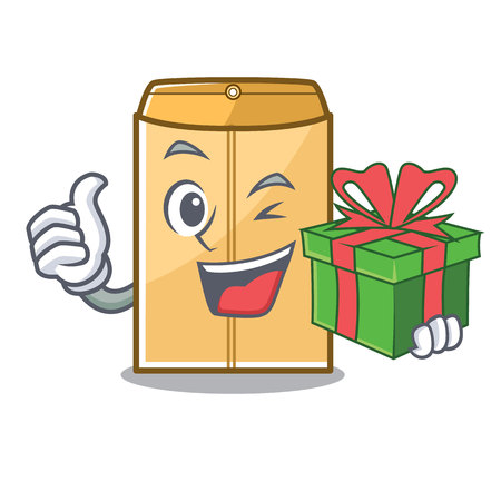 With gift envelope mailer in the mascot closet vector illustration 矢量图像