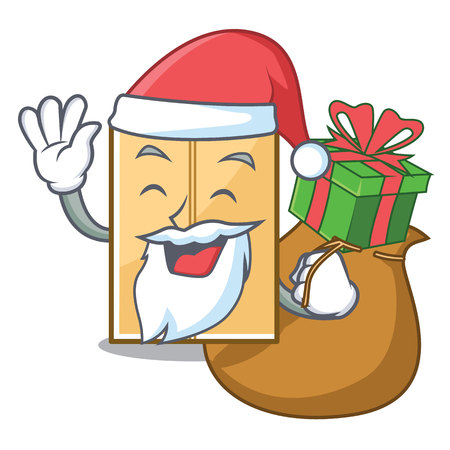 Santa with gift mailer envelope isolated in the cartoon vector illustration Çizim