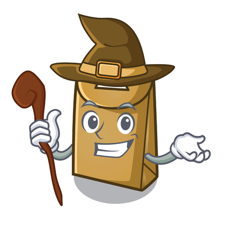 Witch paper bag in the cartoon shape Stock Illustratie