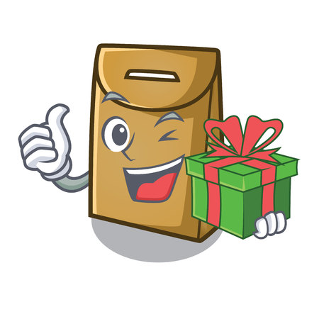 With gift paper bag in the cartoon shape vector illustration