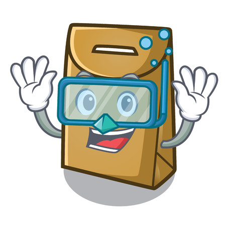 Diving paper bag isolated with the character vector illustration