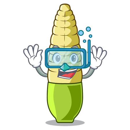 Diving baby corn isolated with the mascot vector ilustration