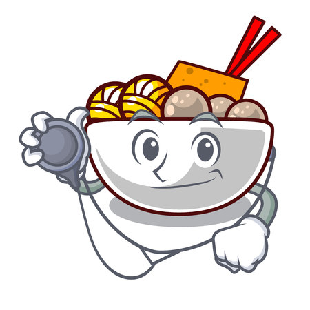 Doctor meatball fried on the cartoon plate vector illustration