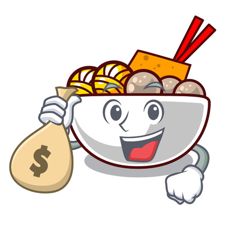With money bag meatball fried on the cartoon plate vector illustration