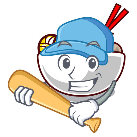 Playing baseball meatball fried on the cartoon plate vector illustration
