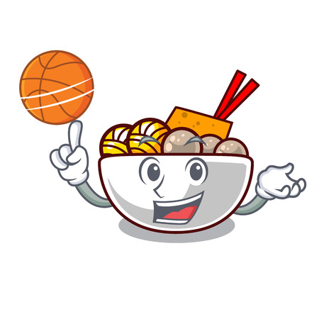 With basketball meatball fried on the cartoon plate vector illustration