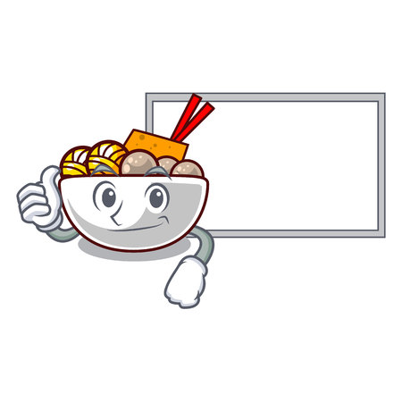 Thumbs up with board meatball fried on the cartoon plate vector illustration Ilustração