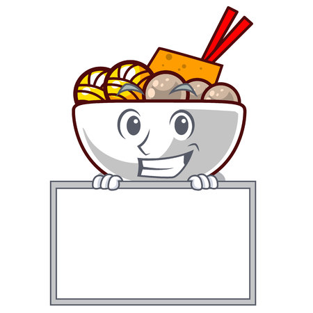 Grinning with board meatball fried on the cartoon plate vector illustration