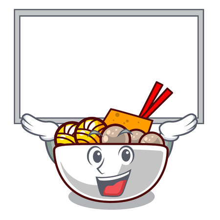 Up board meatball fried on the cartoon plate vector illustration Ilustração