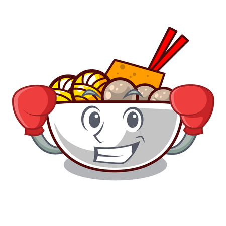 Boxing meatball fried on the cartoon plate vector illustration