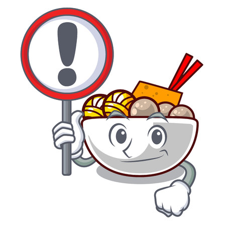 With sign meatball fried on the cartoon plate vector illustration Ilustração