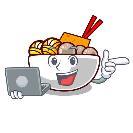 With laptop meatball fried on the cartoon plate vector illustration Иллюстрация