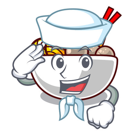Sailor meatball fried on the cartoon plate vector illustration
