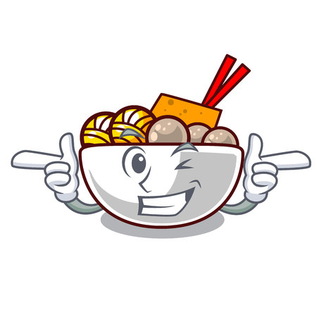 Wink meatball in the a mascot shape Illustration