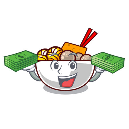 With money bag meatball isolated with in the character vector illustration