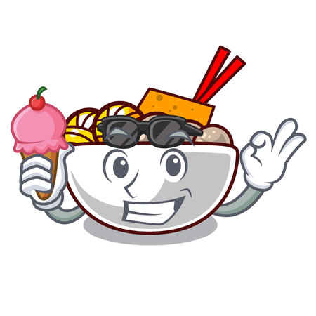 With ice cream meatball in the a mascot shape vector illustration Ilustração