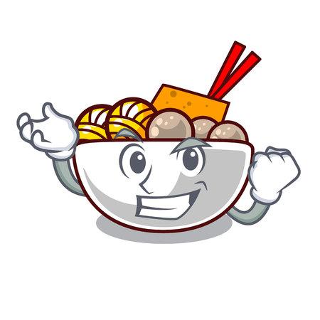 Albóndiga exitosa en una ilustración de vector de forma de mascota
