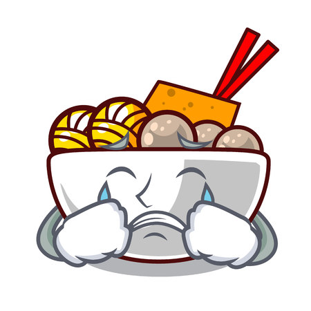Crying meatball isolated with in the character vector illustration 向量圖像