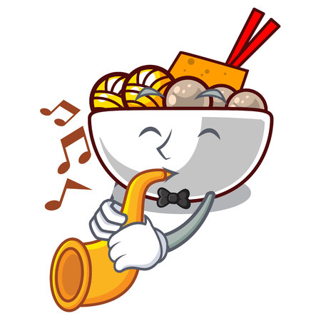 With trumpet meatball isolated with in the character vector illustration Çizim