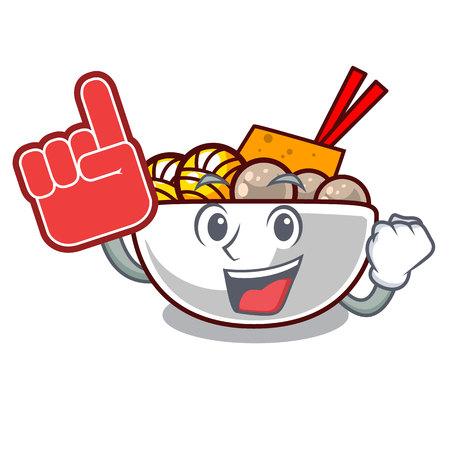 Foam finger meatballs are served in cartoon bowl vector illustration