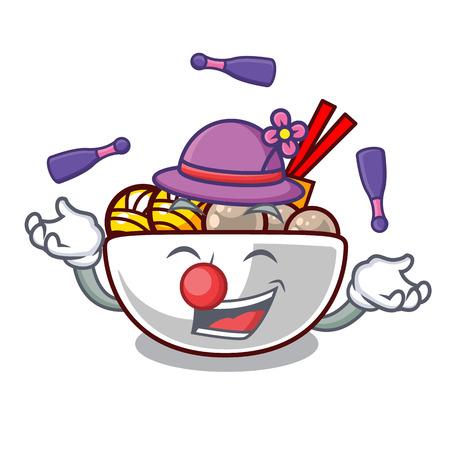 Juggling meatballs are served in cartoon bowl vector illustration Banco de Imagens - 123033825