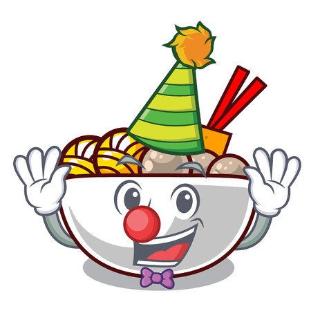 Clown meatballs are served in cartoon bowl vector illustration