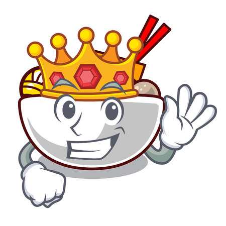King meatballs are served in cartoon bowl vector illustration