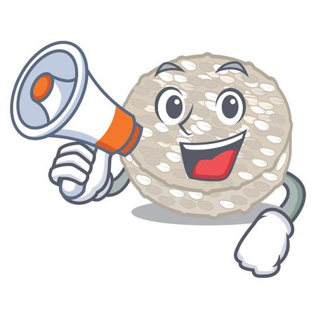With megaphone rice cakes in a jar character vector illustration Ilustração