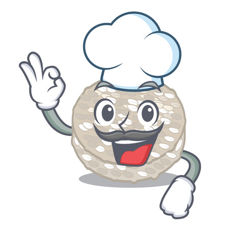 Chef rice cakes in the cartoon shape vector illustration