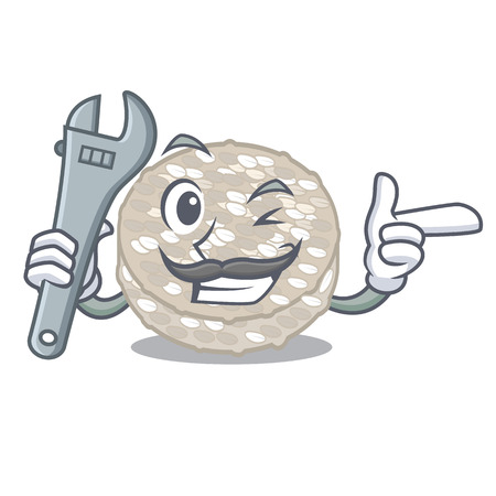 Mechanic rice cakes isolated in the mascot vector illustration