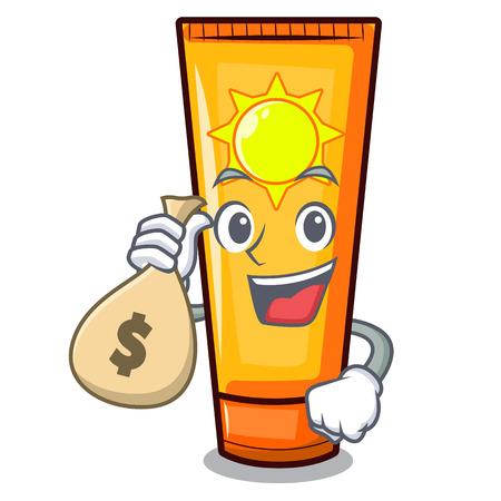 With money bag sun cream in the mascot shape vector illustration Vektorgrafik