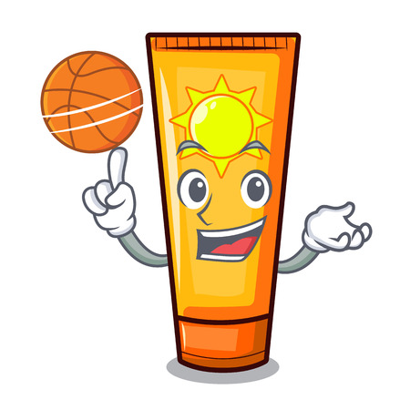 With basketball sun cream in the mascot shape vector illustration