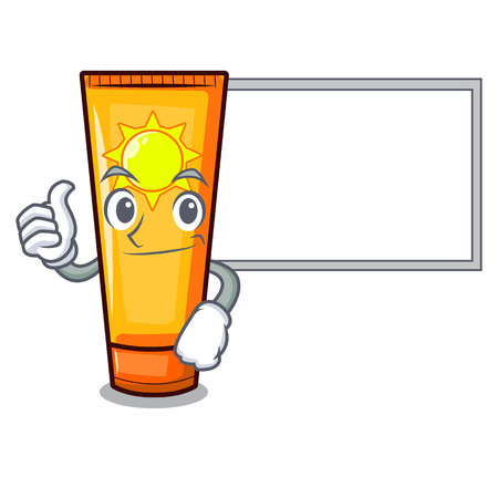 Thumbs up with board sun cream in the mascot shape vector illustration Ilustração